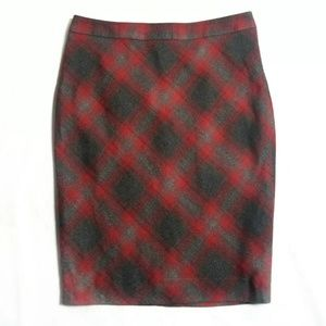The Limited Pencil Skirt Red Gray Plaid 6